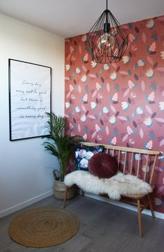 Bordeaux, Small Hall, Little Girl Rooms, Pink Wallpaper, Red And Pink, Wall Prints, Flower Power, Kids Room, Sweet Home
