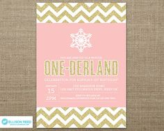 Winter Onederland Invitation - Snowflake Invitation - Winter Invitation - Gold Glitter - Silver Glitter - First Birthday Chevron Printable on Etsy, $16.00