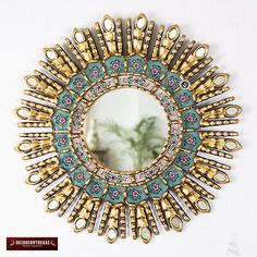 Turquoise Decorative Sunburst Mirror from Peru, Wood & Glass Round Mirror Wood Framed Mirror, Round Wall Mirror, Mirror Set, Round Mirrors, Sunburst Wall Decor, Sunburst Mirror, Small Mirrors, Decorative Mirrors, Handmade Frames