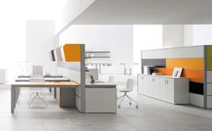 White energy-efficient office with modern furniture