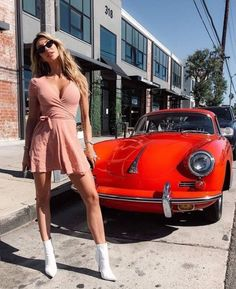 Image may contain: 1 person, car and outdoor - Porsche - Porsche 356, Porsche Girl, Porsche Models, Porsche Club, Porsche Classic, Auto Girls, Car Girls, Cars With Girls, Sexy Cars