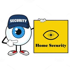 Blue Eyeball Pointing A Sign Banner. Human Icons. $3.00