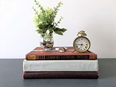 FARMHOUSE VINTAGE BOOKS DECORATIVE Book Stack, Books Stack for decor ...