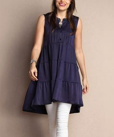Loving this Navy Tiered Notch Neck Pin Tuck Tunic Dress - Plus on #zulily! #zulilyfinds