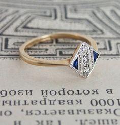 Art Deco Trillion-cut Sapphire and Diamond Engagement Ring | Erica Weiner ($500-5000) - Svpply