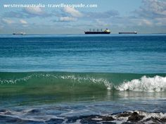 Ships off the coast of Leighton Beach, Fremantle, Western Australia. Click the image for more photos of Leighton and Mosman Beaches.