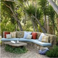 Outdoor Furniture Inspiration (Get your custom cushions for this beautiful stone bench at Patio Place at Ski Haus! Outdoor Seating, Outdoor Rooms, Outdoor Sofa, Outdoor Gardens, Outdoor Living, Outdoor Decor, Garden Seating, Backyard Seating, Garden Benches