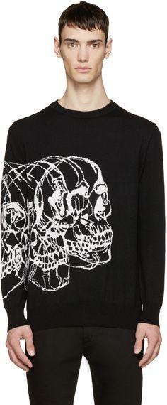 Alexander McQueen Black Knit Best Skulls Sweater