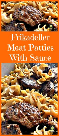 German Frikadeller Meat Patties with Sauce. Made with ground meat and a lovely sauce. Delicious served with pasta! Ground Meat Recipes, Pork Recipes, Cooking Recipes, Healthy Recipes, Yummy Recipes, Healthy Food, Pork Dishes, Dinner Recipes, Dinner Ideas
