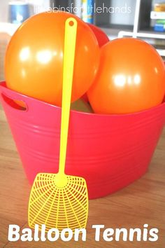 Set up balloon tennis for an easy, indoor, gross motor sensory play game any day! Perfect rainy day activity or energy buster idea to try with kids of all ages including adults! Use balloons and fly swatters to make your own indoor tennis game or party activity.