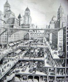 Ранний рисунок Харвея Корбетта «Город завтрашнего дня», 1913