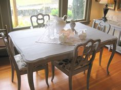 black dining table with chalk paint | Pretty Paris Grey Dining Table and Chairs – SOLD | Serendipity ...