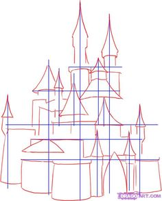 how to draw a medieval castle step 2