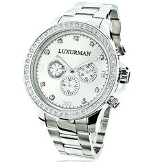 This Limited Edition Mens Diamond Watch by Luxurman features 2 carats of sparkling diamonds. This Luxurman diamond watch showcases a silver tone dial with Date/Calendar/24 hours subdials, and a silver tone stainless steel band. This mens diamond watch by Luxurman comes with two interchangeable straps in different colors (colors may vary). This Luxurman Diamond watch makes a perfect gift for any occasion.