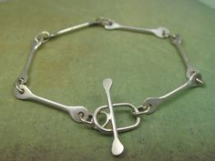 Forged Sterling Silver Bones Bracelet, Barbell, Modern, Artisan, Handmade Toggle, Chain, Unique, Handmade Chain