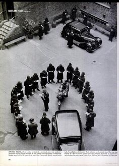 A traffic law teaching session in the inner courtyard of Peel House, Pimlico in 1946. Peel House was the Metropolitan Police's recruit training establishment until the expansion of the Peel Centre site at Hendon in North West London. Peel House continued in use in various guises and I attended many training session there.