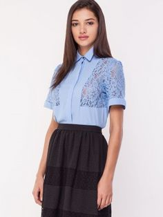 WAREHOUSE Lace Insert Crop Shirt from koovs.com