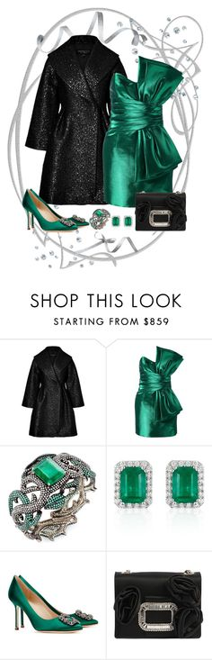 """Emerald Luxe Saint Laurent Dress Look"" by romaboots-1 ❤ liked on Polyvore featuring Giambattista Valli, Yves Saint Laurent, Effy Jewelry, Manolo Blahnik and Roger Vivier"