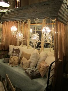 Backyard under the porch this would look awesome Metal awning, this looks like Lauria Anna's in Canton Texas. They create some awesome displays! Farmhouse Decor, Decor, Sweet Home, Metal Awning, House, Vintage Decor, Interior Design, Home Decor, Shabby Chic