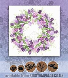 Rubber Stamp Tapestry - Garden of Bee Balm Set-Close up of individual stamps in set.