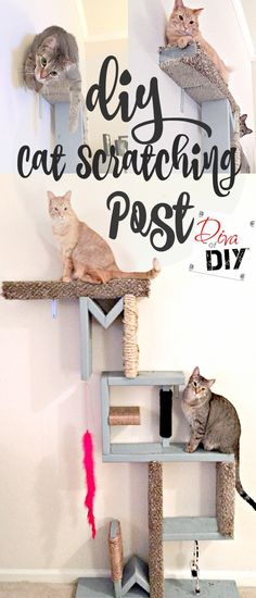 Attention Cat lovers! Let me show you how to make cat scratching diy shelves! This homemade cat scratching post idea for the wall! Awesome Cat DIY project! http://divaofdiy.com/diy-cat-scratching-post-meow/