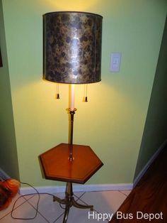 Mid Century Modern Stiffel Parzinger Floor Lamp Table & Shade Vintage