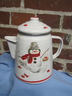 Snowman  Painted Porcelain Coffee Tea Hot Chocolate by RuthHultz, $8.00