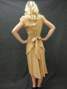 30s Dress // Vintage Tan Day Dress Size S. $195.00, via Etsy.