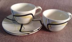2 Red Wing Smart Set 1955 2 Cups 2 Saucers Charles Murphy Mid Century Modern