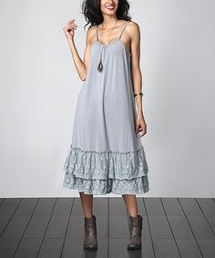 Another great find on #zulily! Gray Lace Slip Extender Dress by Reborn Collection #zulilyfinds