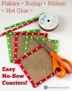 These festive coasters are easy to make with Fiskars original orange crafting scissors from Walmart, a little hot glue, burlap, and decorative ribbon! Read the post to learn how!