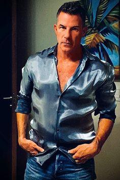 Satin Sexy Men, Hot Men, Satin Shirt, 2 Colours, Silk Satin, Shirt Dress, Blouse, Men Casual, Guys
