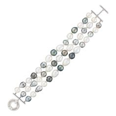 White Gold Bracelet With Oval Tahitian Circled South Sea Pearls And Diamond, 0.03ct