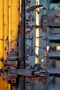 Contemporary abstract digital composition of weathered graffiti on the side of a train car. The high quality giclee print is created in the studio using archival pigment inks on acid free heavyweight