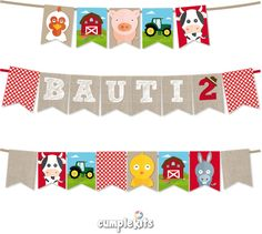 Farm Animals Banner. Bunting. Personalized and ready to print. Banderines…