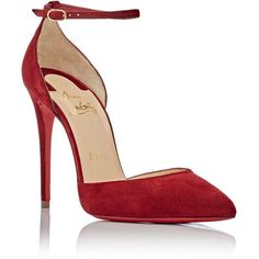 Christian Louboutin Women's Uptown Ankle-Strap Pumps ($845) ❤ liked on Polyvore featuring shoes, pumps, heels, louboutin, suede ankle strap pumps, pointed toe d orsay pumps, pointed-toe pumps, red sole pumps and suede pointy toe pumps