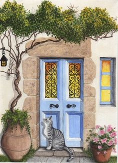 This is a print of a Greek style door that I painted with gouache on watercolor paper. The actual image is 5 x 7 on 8 x 10 paper which leaves a wide border fo Garden Mural, Paper Embroidery, Rustic Gardens, Gouache Painting, Painted Doors, Rock Art, Cat Art, Watercolor Paintings, Watercolor Paper