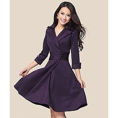 Women's Elegant Lapel Wrap Dress with Buttons - USD $ 21.81