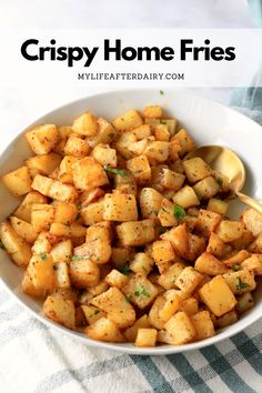 Start your morning with the perfect savory breakfast side, oven-roasted breakfast potatoes. Gluten-free, vegan, and easy to make, this simple home fries recipe goes perfectly with your favorite breakfast foods. Make them for a simple side, a breakfast bowl, or a delicious breakfast burrito.