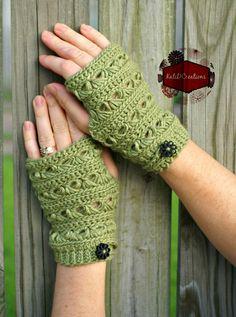 Crochet Wrist Warmers (Broomstick Lace)