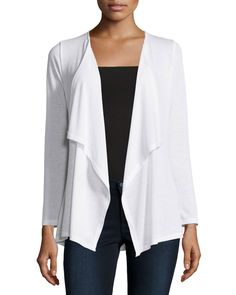 Neiman Marcus Pleated-Back Draped Cardigan, White, Women's, Size: Medium