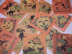 Vintage Halloween Lot 20 Paper Napkins Black Cat by RetroPickins, $46.95