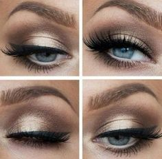I love the shimmery brown shadow used, great for blue eyes