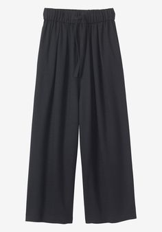 SOFT WOOL JAPANESE TROUSER | Easy, wide-leg, ankle-skimming trouser in a soft wool blend. Pull-on with drawstring ties.