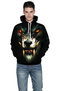 Black hoodie with 2019 new starry Wolf print hoodie – menlivestyle Hooded Sweater, Cargo Pants, Black Hoodie, Christmas Sweaters, Wolf, Printed Hoodies, Superhero, Jackets, Fashion
