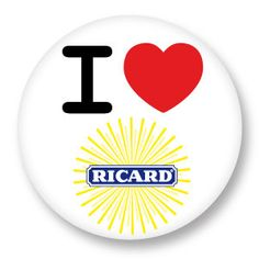 "Badge Pinback Button 38mm 1 1/2"" 1.5 Inch I Love Ricard You j'aime Ti amo te amo Ich liebe dich Heart Coeur"