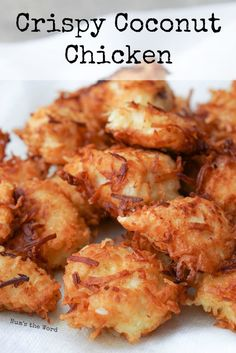 Crispy Coconut Chicken - This simple dish is gluten free and packed with flavor. Crispy coconut coated chicken nuggets, strips or breasts is a winner with all family members and will be requested again and again! (air fyer recipes whole Coconut Chicken Tenders, Chicken Nuggets, Baked Coconut Chicken, Coconut Chicken Recipe Healthy, Coconut Chicken Strips, Coconut Shrimp Recipes, Low Carb Chicken Recipes, Cooking Recipes, Chicken Finger Recipes