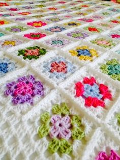 Colourful granny squares blanket