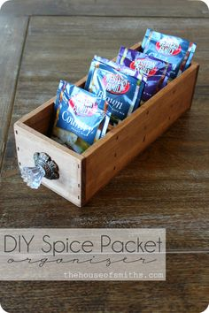 Spice Packet Organizer pantri, old drawers, storage boxes, decorating blogs, spice, hous, wood boxes, design blogs, wooden crates