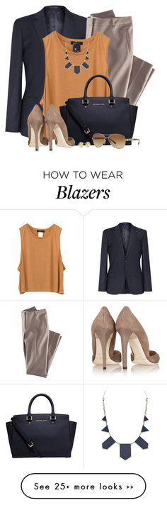 """""""Off to Work"""" by brendariley-1 on Polyvore featuring H&M, House of Harlow 1960, Michael Kors, Jimmy Choo, Burberry and Kate Spade"""